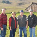 The Tunzi family at their ranch in Roblar. Left to right: Fred, Joan, Jim and Robby. Photo by Rachel LaFranchi.